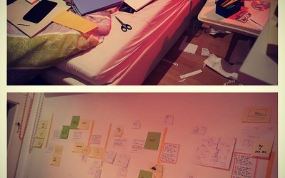 Idea wall for next animated film, I vaguely remember there was a bed in this room once? #storyboard #clutter